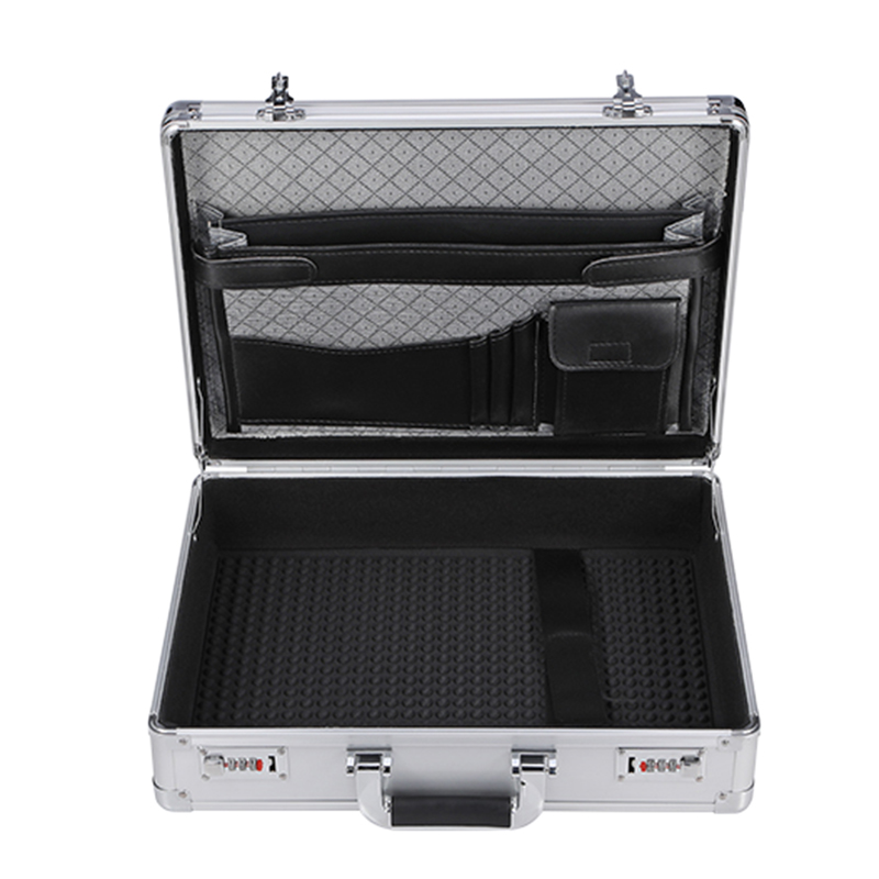 Portable Aluminum Tool Case Outdoor Suitcase Toolbox Password File Box Impact Resistant Safety Case Equipment Case 45x33x13cm