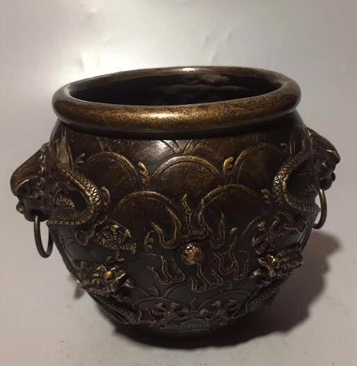 Collection chinois sculpté à la main dieu Dragon pot d'eau pot de vin décoration de la maison