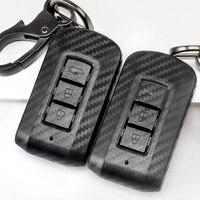 2019 nova chave do carro de carbono capa caso chave para mitsubishi outlander eclipse cross lancer 10 pajero esporte l200 asx rvr 2/3 botões