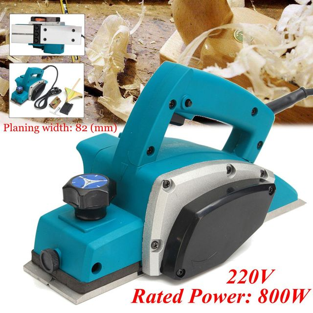 800W 220V Electric Planer Powerful Wooden Handheld Copper Wire Wood Planer Carpenter Woodworking DIY Power Tools Kit