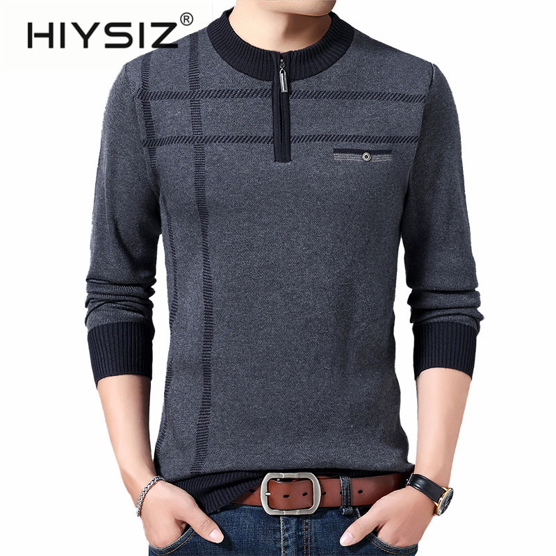 HIYSIZ Brand 2019 Autumn Casual Pullovers Men's Sweater O-Neck Striped Slim Fit Knittwear Mens Sweaters Pull Homme Hombre H3023