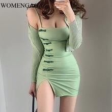 Womengaga中国スタイルのセクシーな秋冬ストラップレスベース緑のドレスボタンスリムチャイナ女性R599