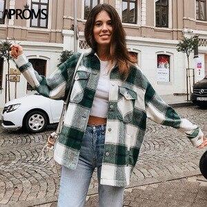 Image 3 - Aproms verde branco xadrez jaqueta feminina manga longa bolsos oversize senhoras casacos outono inverno streetwear casual feminino outerwear