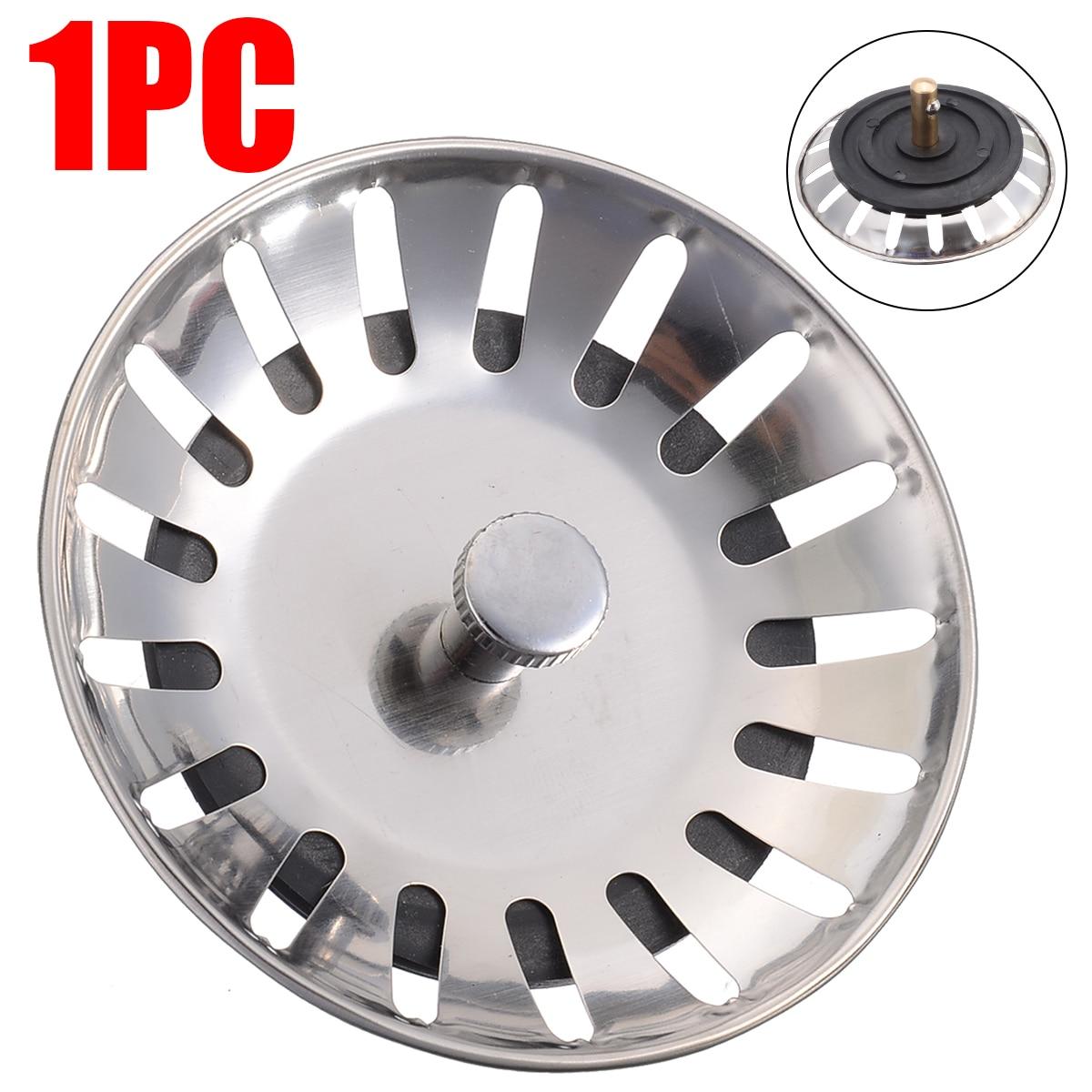 78mm Diameter Stainless Steel Kitchen Sink Strainer Stopper Waste Plug Sink Filter Bathroom Basin Sink Drain Kitchen Accessories