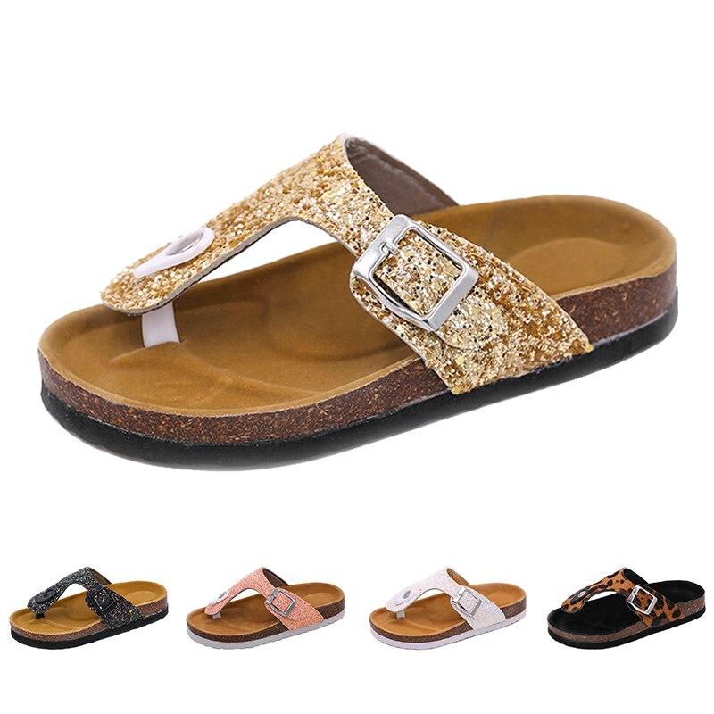 Summer Kids Slippers Fashion Comfortable Leopard Print Girls Flip Flops Bling Sequins Cork Slippers For Children Barefoot Shoes