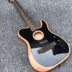Personnalisation en usine, guitare électrique, peinture noire devant guitare acoustique, accessoires noirs, pont en bois rose