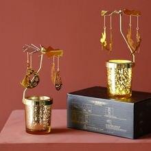 Золотой вращающийся подсвечник круглый металлический романтичный