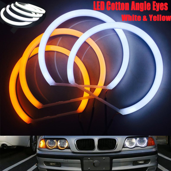 цена на For BMW E90 E46 E36 E38 E39 E91 White Amber Dual Color Cotton LED Angel Eyes Kit Halo Ring DRL Turn Signal Light CCFL Headlight