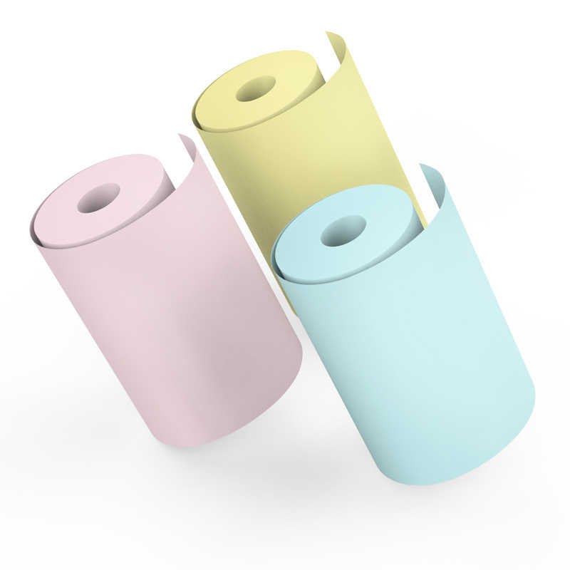 Multicolor Kertas Foto Mini Cetak Sticker Roll Printer Thermal Kertas Termal Hapus Pencetakan Smudge-Proof Portable