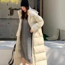 Neue Mit Kapuze Winter Jacke Frauen Parka Warme Starke X-Lange Unten Baumwolle Mantel Weibliche Lose Oversize Mit Kapuze Frauen Winter mantel Oberbekleidung