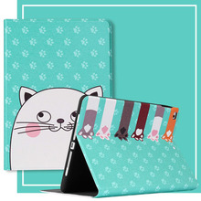 For iPad 10.2 Case Cartoon Cat PU Silicone Soft Back Tablet Cover For iPad Mini 2 3 4 5 Air 1 2 Pro 11 Flip smart stand Case