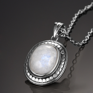 Big Natural Moonstone Bluesand Stone 925 Sterling Silver Jewelry Pendant Necklace with Chain for Women Vintage Anniversary Gifts
