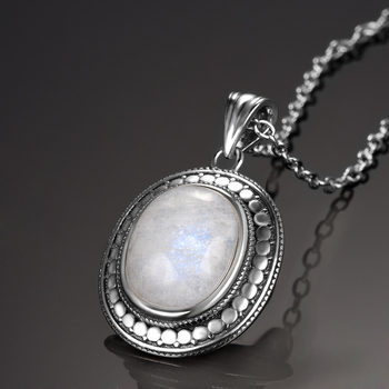 Big Natural Moonstone Bluesand Stone 925 Sterling Silver Jewelry Pendant Necklace with Chain for Women Vintage Anniversary Gifts natural blue light moonstone pendant women men anniversary 26x17x10mm oval round stone 925 silver crystal necklace pendant aaaaa