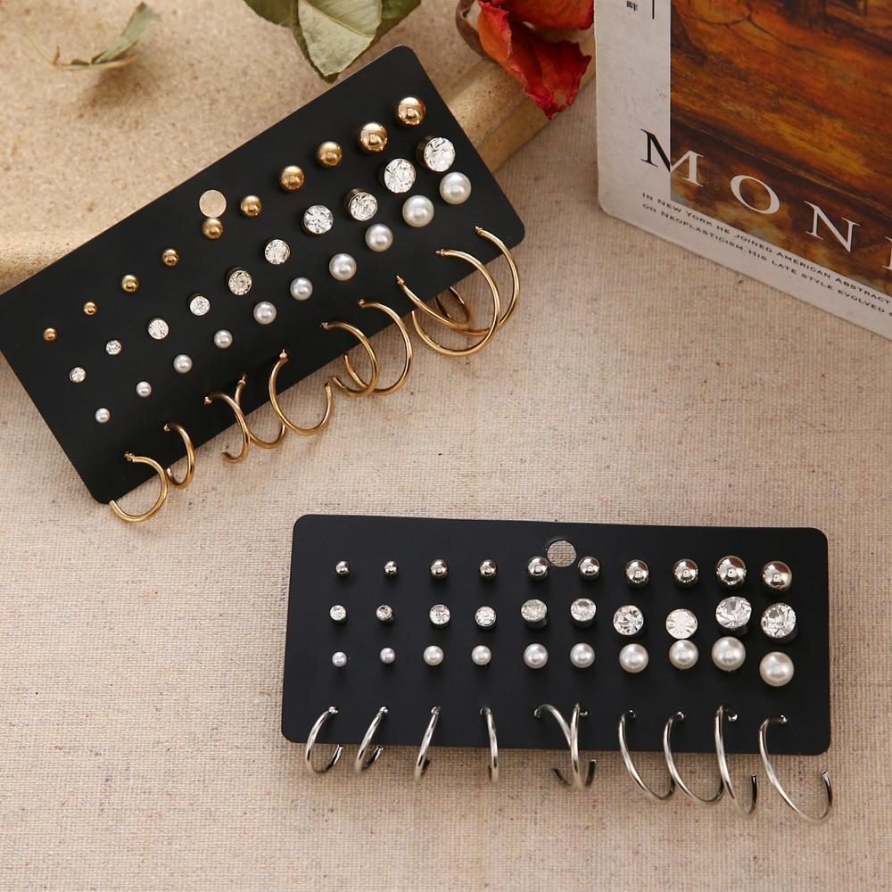 FNIO Women's Earrings Set Pearl Earrings For Women Bohemian Fashion Jewelry 2020 Geometric Crystal Heart Stud Earrings 5