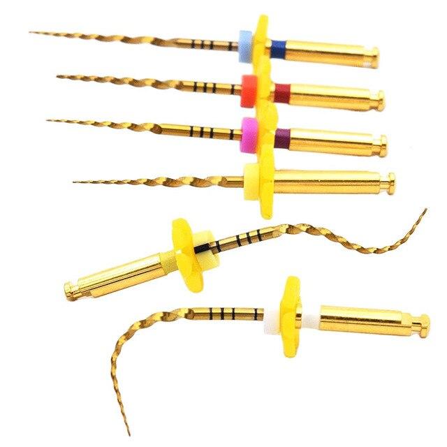 שיניים זהב גמיש קבצי אנדו סיבובי קבצי זהב שורש קבצי 25mm ניקל titainium מכשיר רפואת שיניים