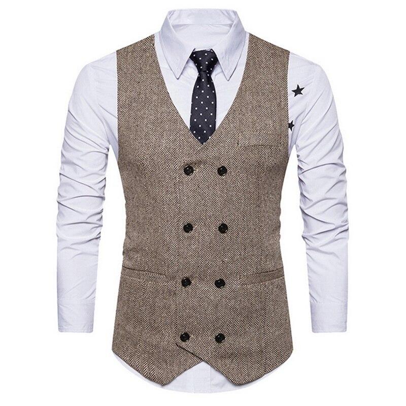 MJARTORIA Men Double Breasted Suit Vests Gentlemen Casual Business Sleeveless Waistcoat Vintage Blazers Vest For Wedding Party