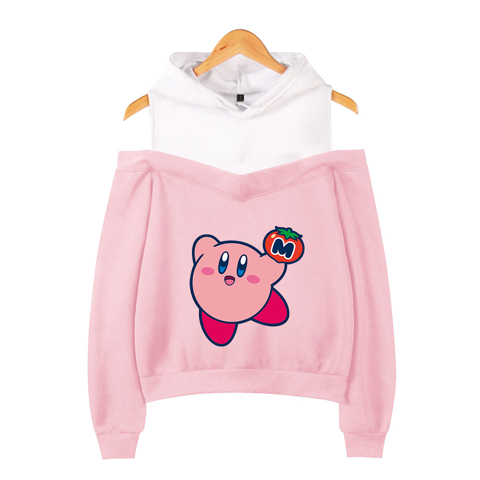 Kirby 3D Hoodie Off-the-shoulder Women Fall Winter Fashion Popular Casual Hoodie Lovely Print Kirby 3D Hoodie Strapless Shoulder