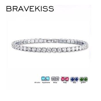 BRAVEKISS 5 kolor Fashioh luksusowy kryształ bransoletka tenisowa cyrkon bransoletka z koralików bransoletka łańcuchy bransoletki ze sznurków dla kobiet BUB0097