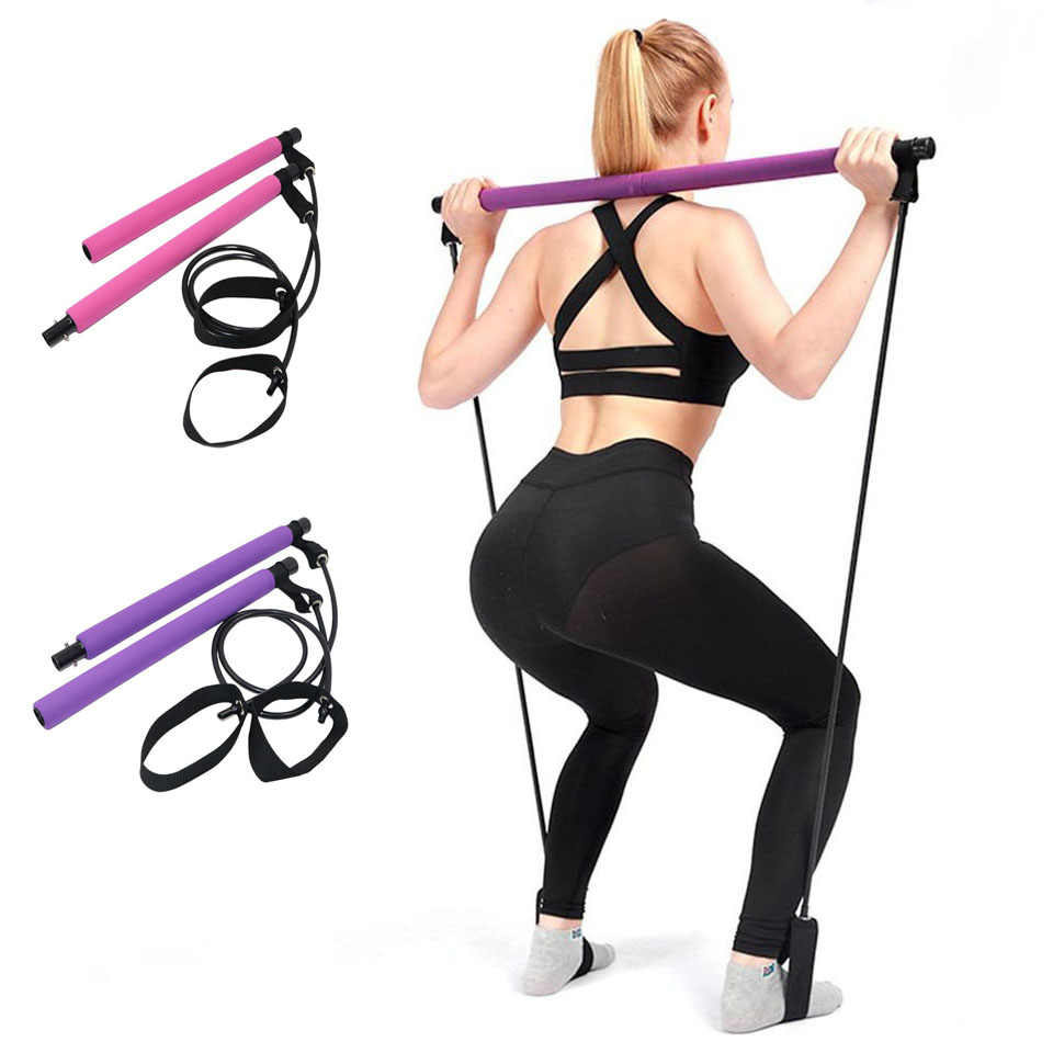 Exercise Stick Bodybuilding Yoga Workout Pilates Bar Kit With Resistance Band
