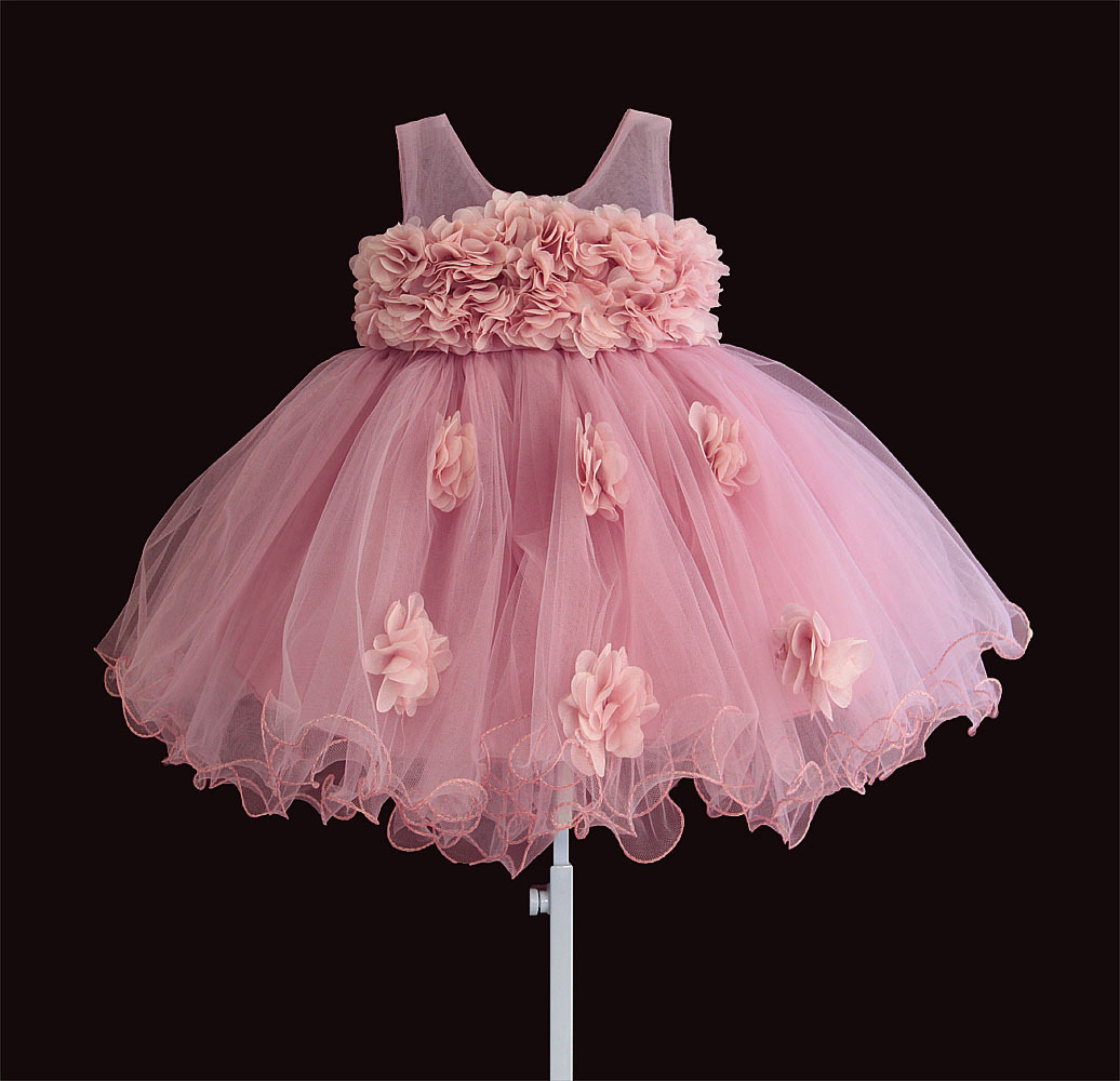 2020 New Lace Rose Design Baptism Newborn Baby Princess Dress