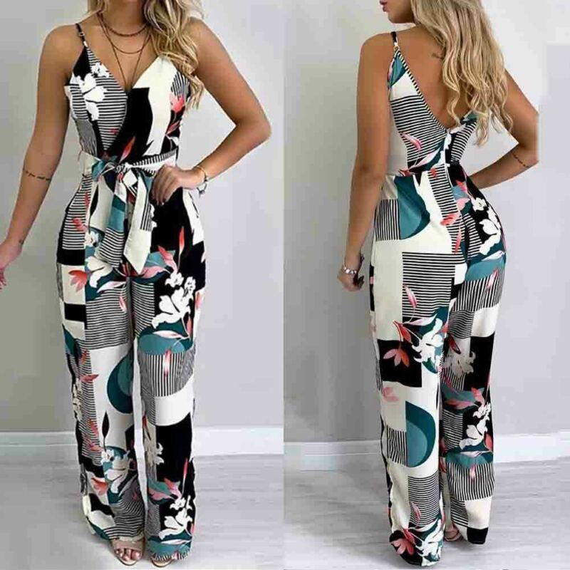 Boho Sexy 2020 Summer Playsuit Women Sling Belted Floral Print Jumpsuit Plus Size XL Overalls Maxi Romper Beach Strappy Bodysuit
