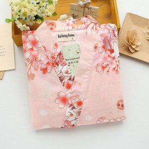 Image 4 - Batas de kimono Kawaii sakura para mujer, conjuntos de Pijamas cortos de verano, 100% de algodón, pantalón corto japonés yukata, albornoces, ropa de dormir