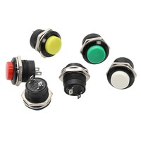 Interruptor de botón momentáneo de 16mm, Botón de Apagado (ON) de reinicio automático, Interruptor redondo 6A/125VAC 3A/250VAC R13-507, 10 Uds.