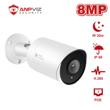 Anpviz (Hikvision Compatible)  IPC-B880W-DS 8MP Bullet POE IP Camera H.265 Outdoor ONVIF Compliant IP66 IR 30m Surveillance 100% original 6mp dahua ip camera english firmware ir 80m h 265 ipc hfw4631m i2 ir cut hd1080p support poe dh ipc hfw4631m i2