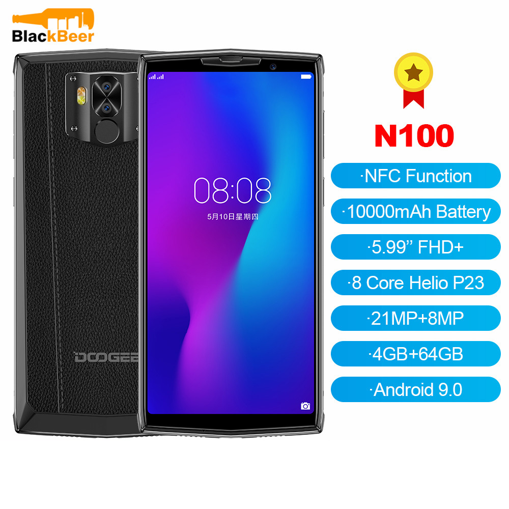 DOOGEE N100 5.99 Inch Smartphone MT6763 Octa Core Mobile Phone Android 9.0 Cellphone 4GB 64GB 10000mAh Fingerprint 21.0MP+8.0MP