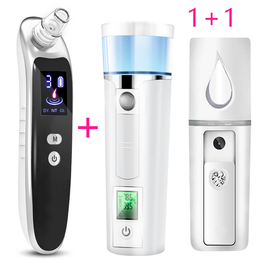Blackhead Remover Vacuum Suction Face Deep Pore Cleaner Facial Acne Pimple Removal Extractor + Face Steamer Mini Nano Sprayer