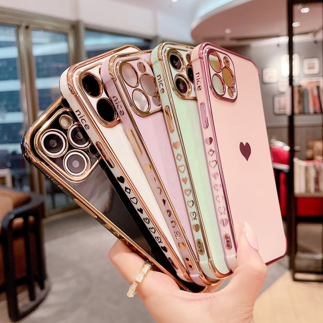 Phone Case For iPhone 12 Mini 11 Pro X XR XS Max 7 8 Plus SE 2 Luxury Cute Side Pattern Electroplated Love Heart Soft TPU Case