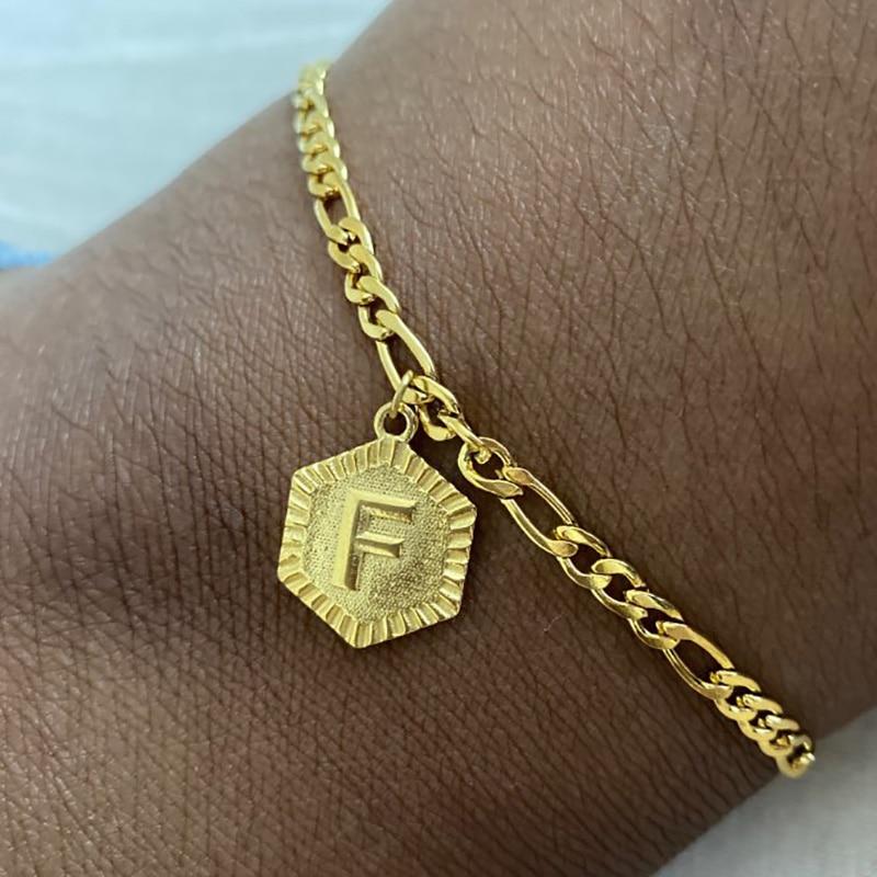 Summer Initial Letter Anklet Hexagon Alphabet Leg Bracelets For Women Foot Jewelry Stainless Steel Feet Chain Friendship Gifts