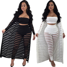 oversize 3xl sexy 3 piece set women striped three piece set female long sleeve three pieces sets winter long coat tops pants