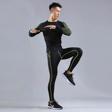 Quick-drying sports compression suit men's running suit basketball tights workout clothes gym jogging sportswear fitness t-shirt