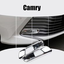 Free Shipping! For Toyota Camry 2018 2PCS ABS Chrome Car Front & Rear Fog Lamps Cover Trim Fog Lamp Light Shade Trim Car Styling