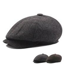 Зимняя шерстяная остроконечная Блиндер шапка-ушанка Newsboy шапки мужские теплые бархатные Восьмиугольные шапки Мужские детективные шапки художника кепки козырьки