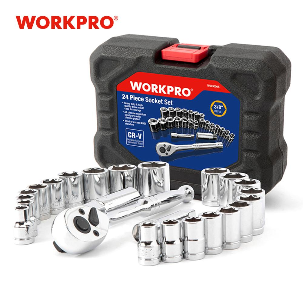 "WORKPRO 24PC Tool Set Torque Wrench Socket Set 3/8"" Ratchet Wrench Socket Spanner"