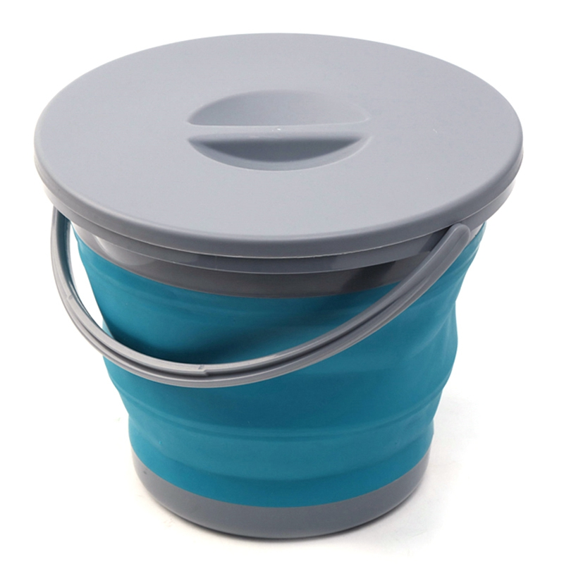 HHO 5L Folding Bucket with Cover Portable Folding Bucket Car Wash Fishing Promotion Bathroom Kitchen Silicone Bucket Outdoor Cam Buckets     - title=