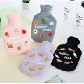 Cute PVC Hot Water Bottle Bag with Knitted Soft Cozy Cover Winter Warm Reusable Hand Warmer