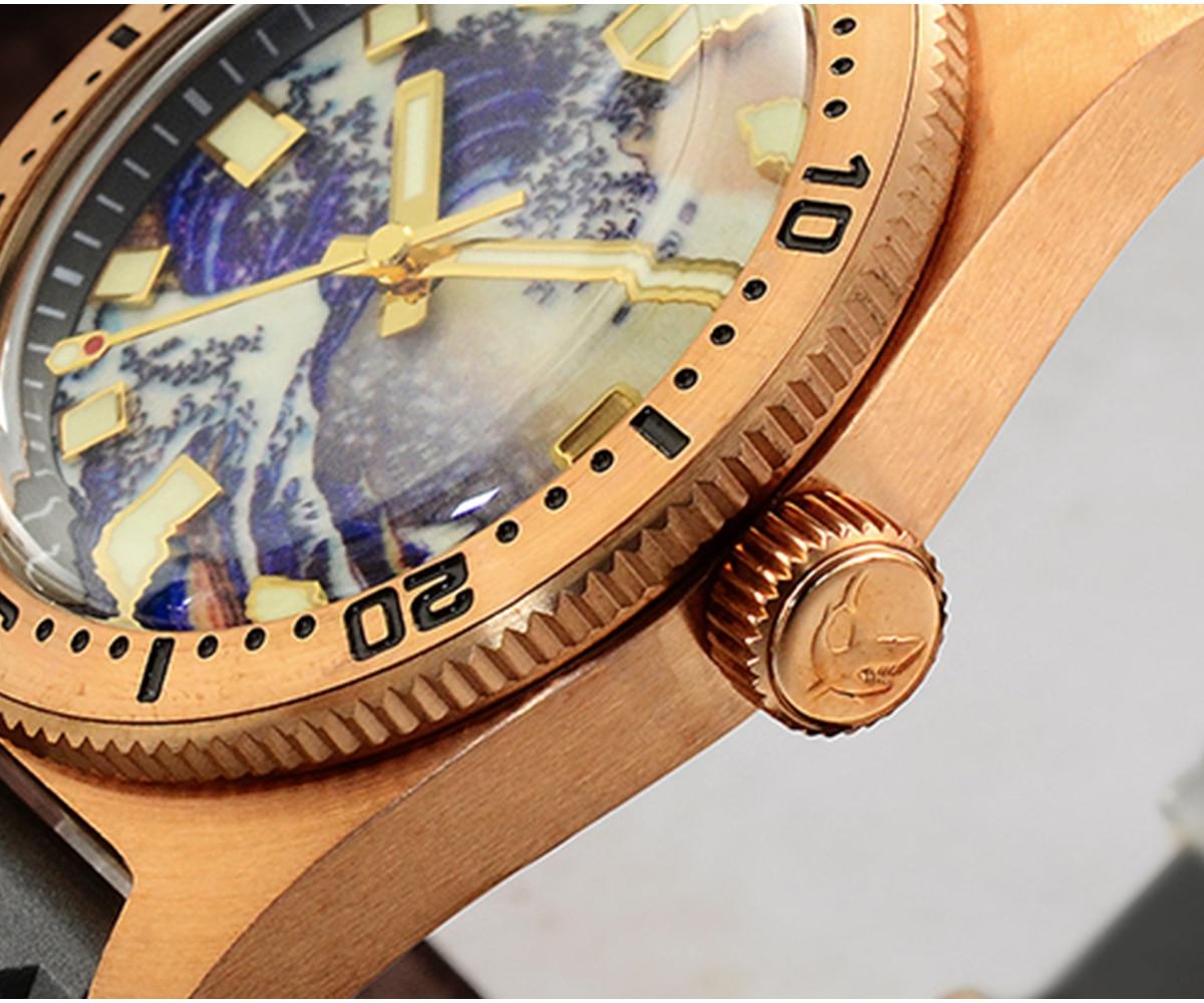 luminoso surf dial cusn8 bronze nh35 masculino