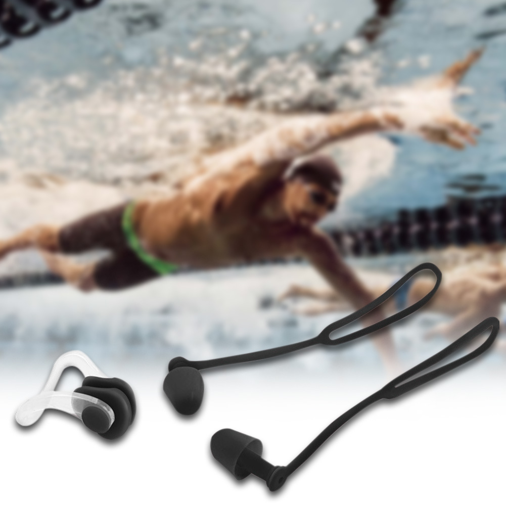 Surfing Nose Clip Waterproof Protector Soft Comfortable With Rope Diving Earplugs Silicone Sports Swimming Non-toxic