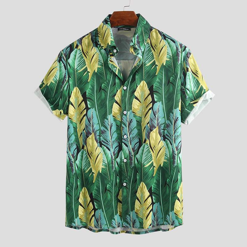 Fashion Men Hawaiian Shirt Breathable Brand Button Casual Short Sleeve Printing Mens Beach Shirts Streetwear Camisas Hombre 2020
