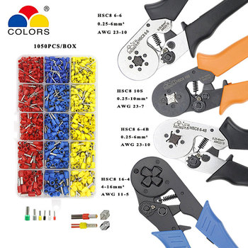 Crimping tools pliers electrical tubular terminals box mini clamp HSC8 10S 0.25-10mm2 23-7AWG 6-4B/6-6 0.25-6mm2 16-4 hand tools hsc8 6 4 hsc8 6 4a mini type self adjustable crimping plier 0 25 6mm2 terminals crimping tools multi tools hands pliers