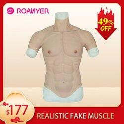 ROANYER реалистичный фальшивые мускулы живота мачо, жуткая Реалистичная силиконовая искусственная модель мышцы человек кожу до средства уход...
