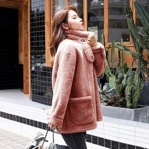 Leiouna solto plus size 2020 nova moda pele mex falso casaco de inverno das mulheres jaqueta curta lã de pelúcia casacos misturas