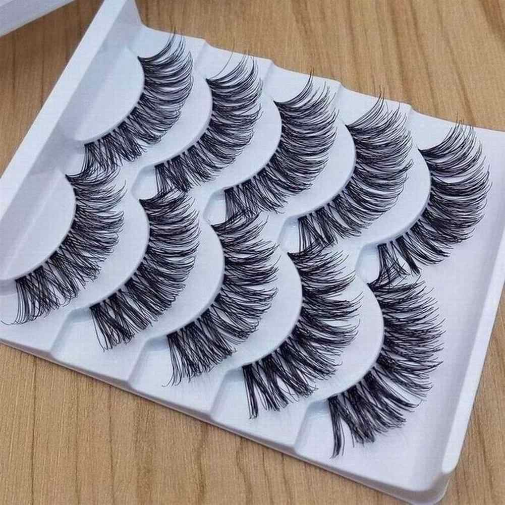 5 Pairs Up Handmade Natural Lange Volume Valse Wimpers Lashes Extensions Nep Wimpers Set