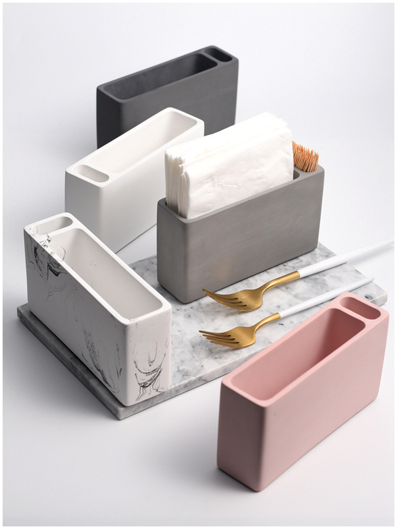 Cement paper towel box silica gel mold square paper towel box silica gel mold table setting piece receive take out paper box mol