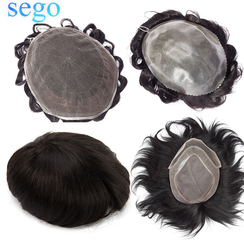 SEGO Mono/PU/Lace Skin Men Toupee 100% Real Human Hair Non-Remy Men Hairpieces Wig Replacements Indian Hair  6''*8''/8''*10''