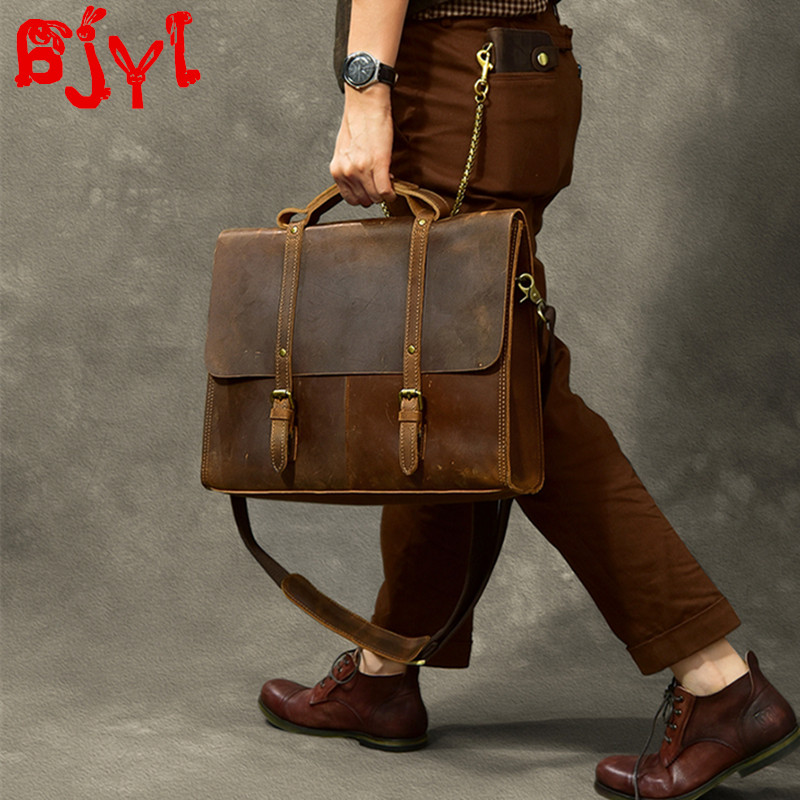 New Crazy Horse Leather Men Briefcase Head Layer Leather Retro Male Handbags Large Capacity Laptop Bag Shoulder Messenger Bags