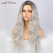 Aisi 26 дюймов волнистый парик Омбре черный платиновый блонд